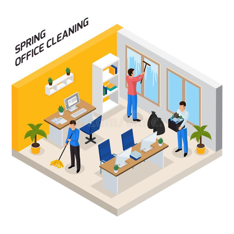Office Cleaning Isometric Composition vector illustration