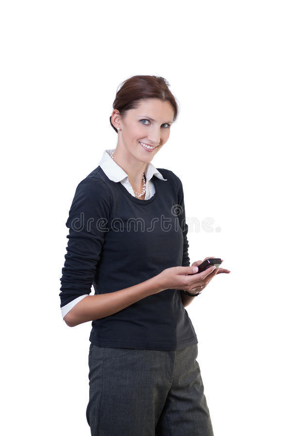 Office clerk with smart phone