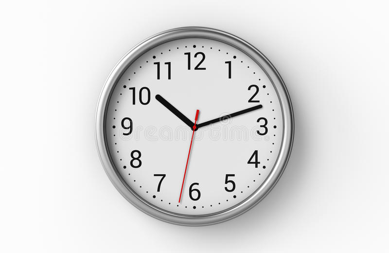 Office clock on white wall. Metal office clock with numbers on white wall. 3D illustration vector illustration