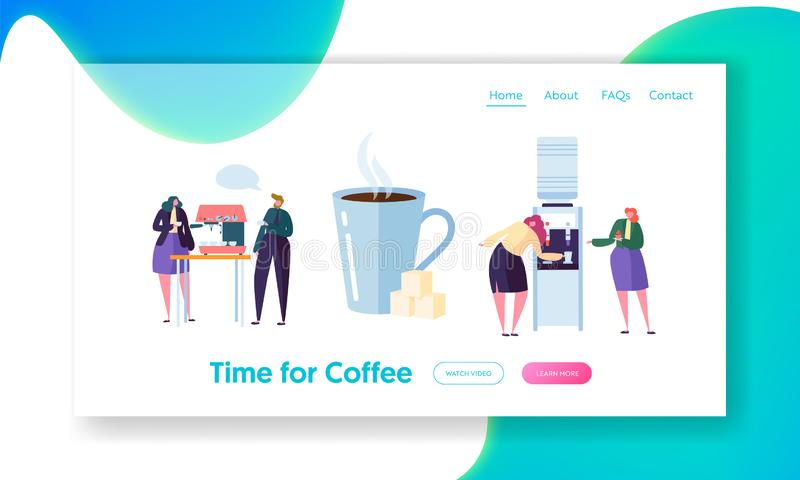 Office Coffee Break Time Landing Page Banner. Business People Character have Lunch. Employees Talking, Resting stock illustration