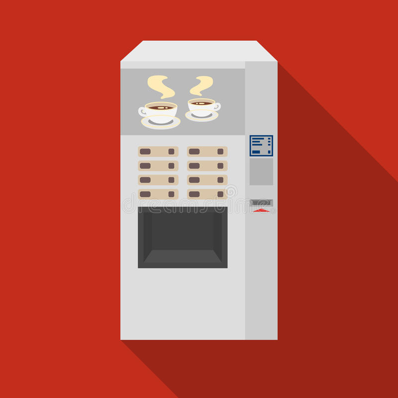 Office coffee vending machine icon in flat style isolated on white background. Office furniture and interior symbol. Vector illustration royalty free illustration