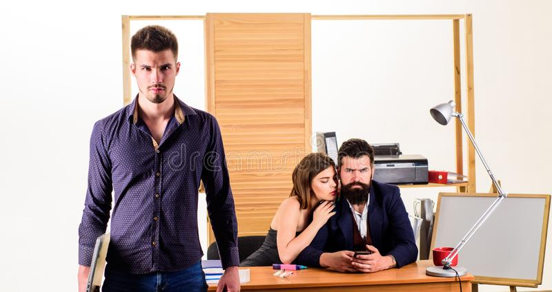 Office collective concept. Sexual attraction. Stimulate sexual desire. Sexual attention. Male rivalry. Modern office royalty free stock photos