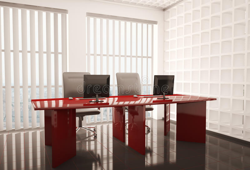 Office with computers 3d stock illustration