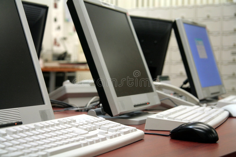 Office computers royalty free stock photos