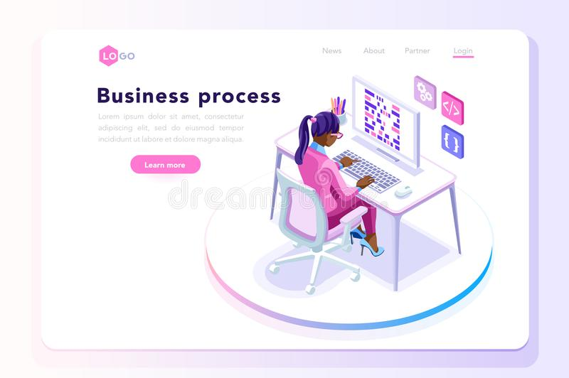 Office concept for web site banner. Office tablet concept, isometric people at office working on a tablet display, isometric workplace concept stock illustration