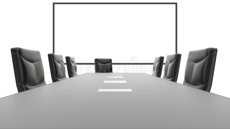 Office Conference Table And White Board Stock Illustration - Whiteboard conference table