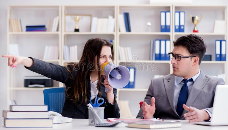 Office conflict between man and woman. The office conflict between man and woman royalty free stock photography