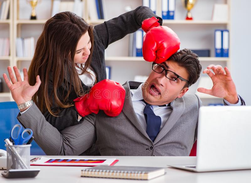 Office conflict between man and woman royalty free stock image
