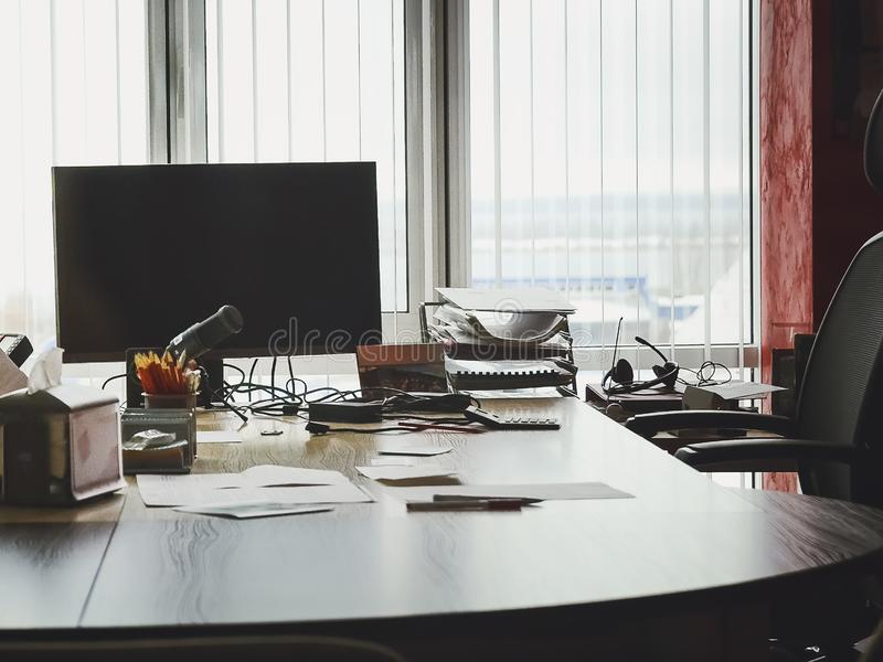 Office contemporary desk working place stock photography