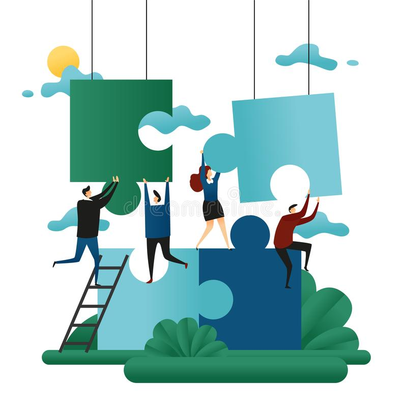Office Cooperative Teamwork. People Build Puzzles. Problem Solution Business Concept Vector Illustration stock illustration