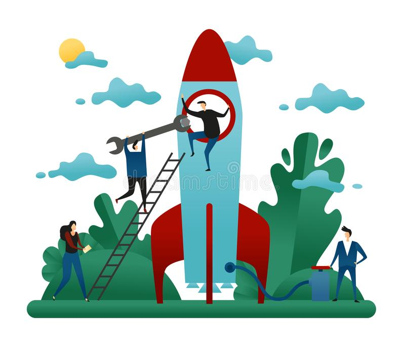 Office Cooperative Teamwork. People Build Rocket of Success. Business Startup Concept Vector Illustration stock illustration