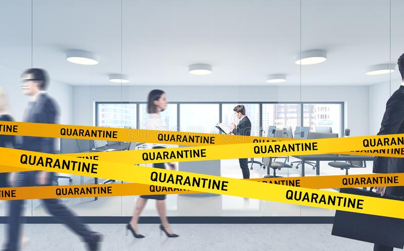 Office on coronavirus quarantine, work from home. Modern corporate office with blurry business people on quarantine. Concept of working from home during 2019 stock photos