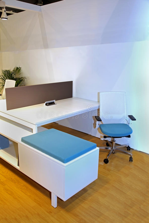 Office cubicle. With modern chair and desk furniture royalty free stock photography