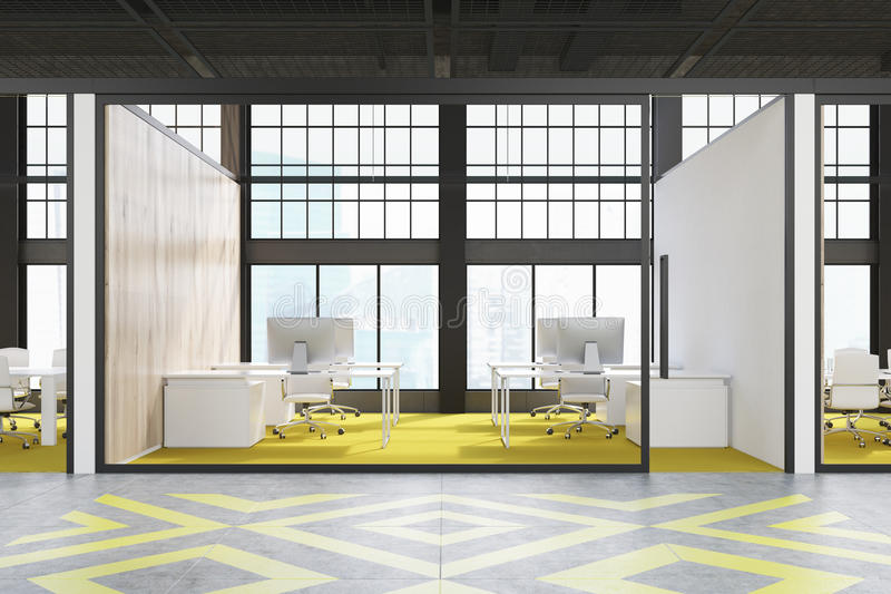 Office cubicle with yellow floor vector illustration