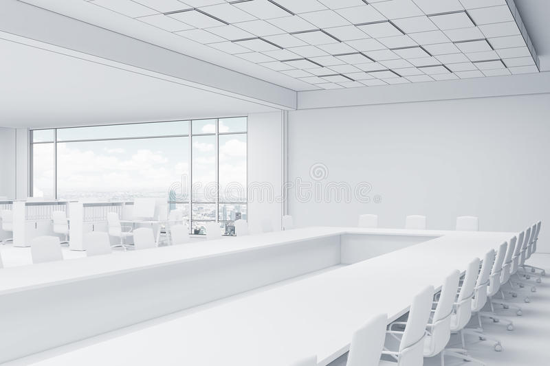 download office with cubicles and conference room stock image