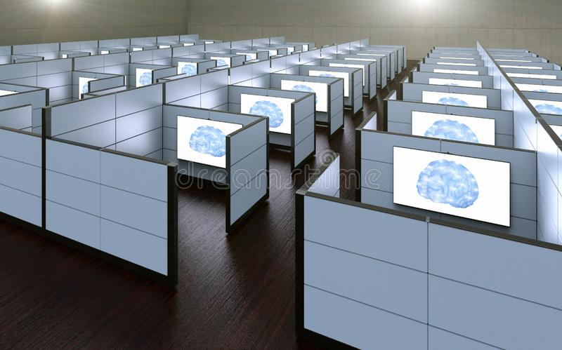 Office cubicles where workers where replaced by artificial intelligence. 3D rendering of a conceptual images of office cubicles where workers where replaced by stock illustration