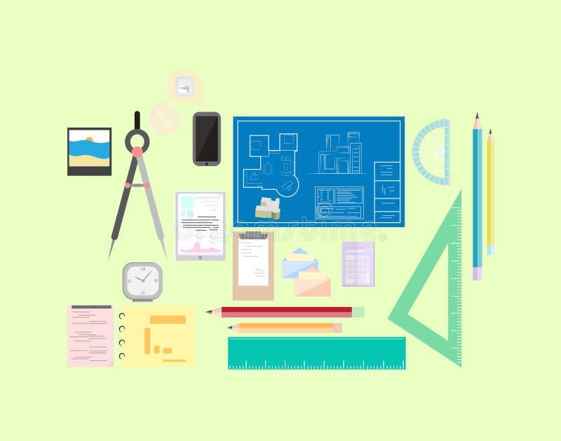 Office designer architect Workplace set flat illustration royalty free illustration