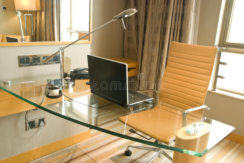 Office desk. Trendy office desk in a morning stock photography