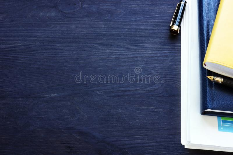 Office desk with business papers. Workplace. Background. stock photo