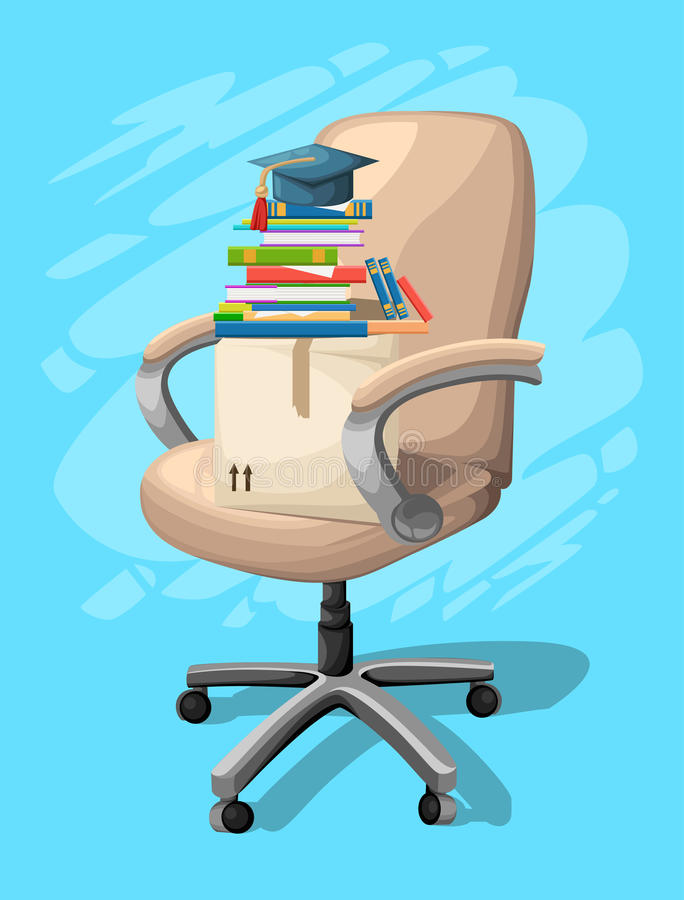 Office or desk chair in various points of view. Armchair or stool in front, back, side angles. Corporate castor furniture flat ico stock illustration