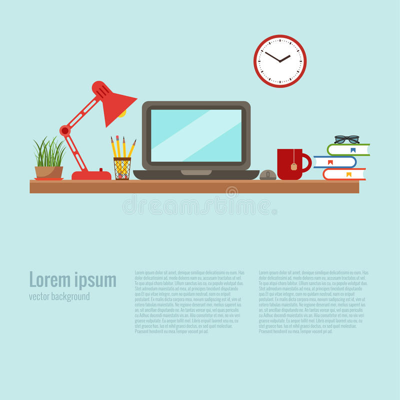 Office desk closeup concept. Vector colorful office desk closeup concept. Flat work interior design elements: table, laptop, lamp, books. Working concept of royalty free illustration