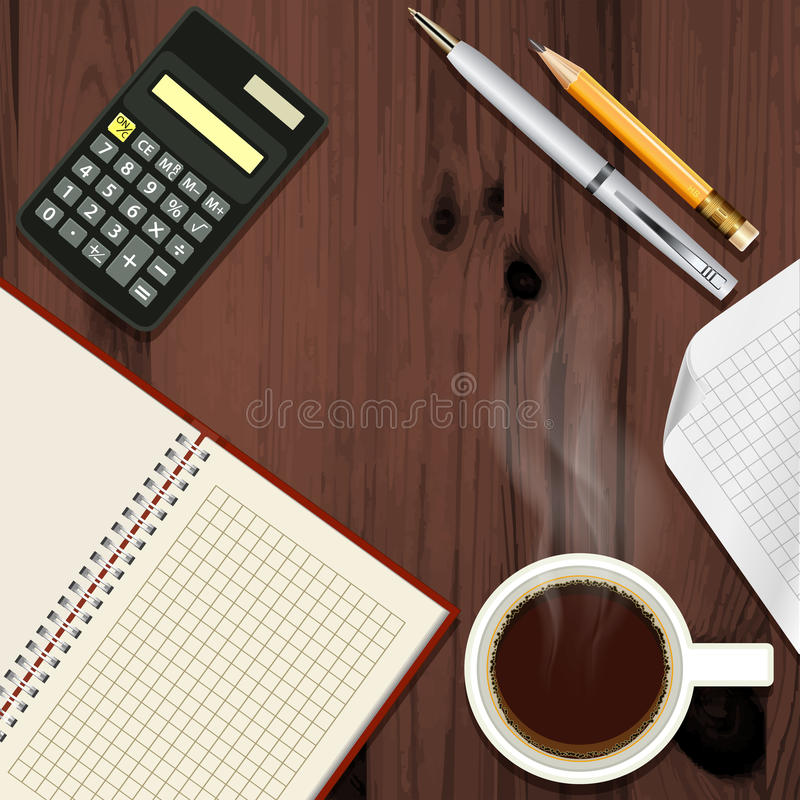 Office desk with coffee cup royalty free illustration