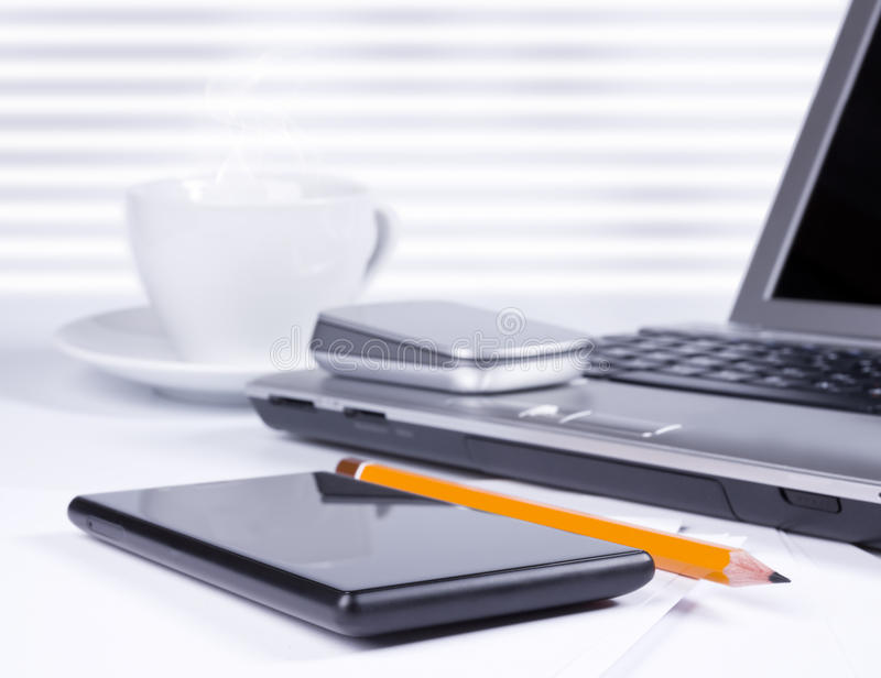 Download Office Desk With Computer And Smartphone Stock Image - Image: 35404767