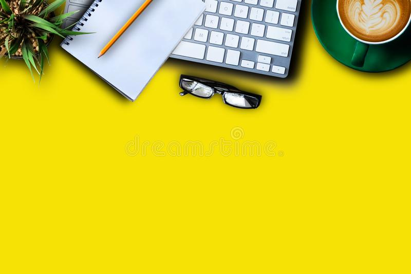 Office desk with computer and supplies. Tabletop. Top view. royalty free stock photography