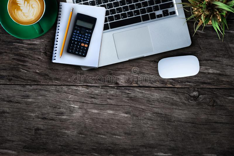 Office desk with computer and supplies. royalty free stock images