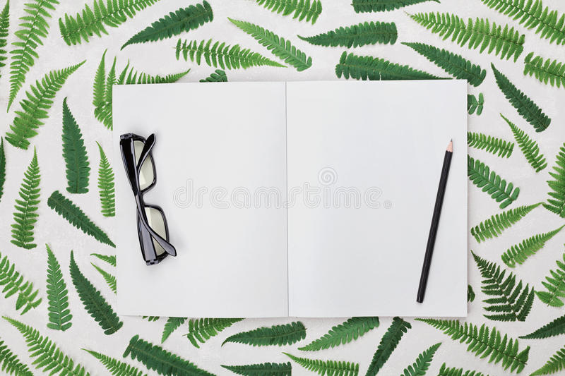 Office desk with fern leaves, empty open notebook, black eyeglasses and pencil from above. Flat lay styling. royalty free stock images