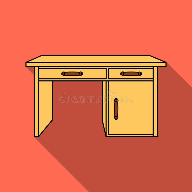 Office desk icon in flat style isolated on white background. Furniture and home interior symbol stock vector. Office desk icon in flat style isolated on white royalty free illustration