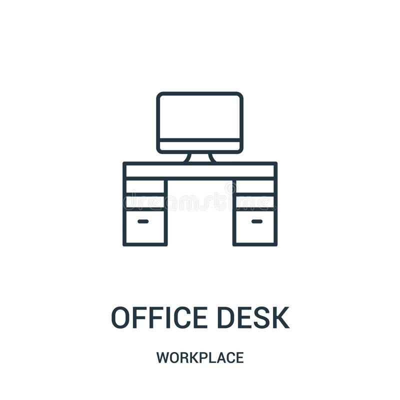 office desk icon vector from workplace collection. Thin line office desk outline icon vector illustration royalty free illustration