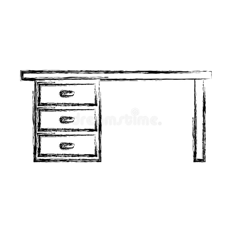 Office desk isolated icon stock illustration