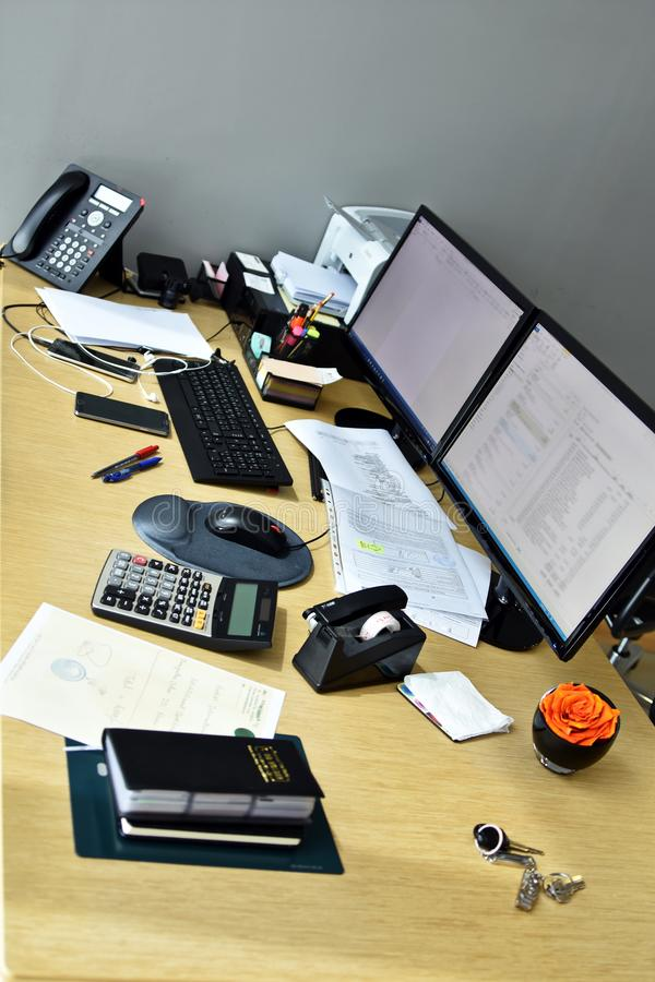 Office desk with items royalty free stock photo