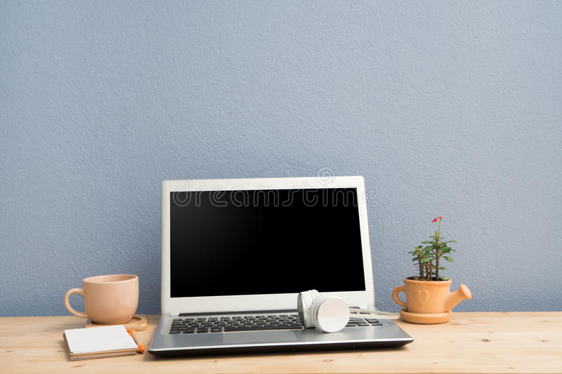 office flower pots. Download Office Desk With Laptop, Note Paper,coffee Cup And Euphorbia Milii Flower On Pots