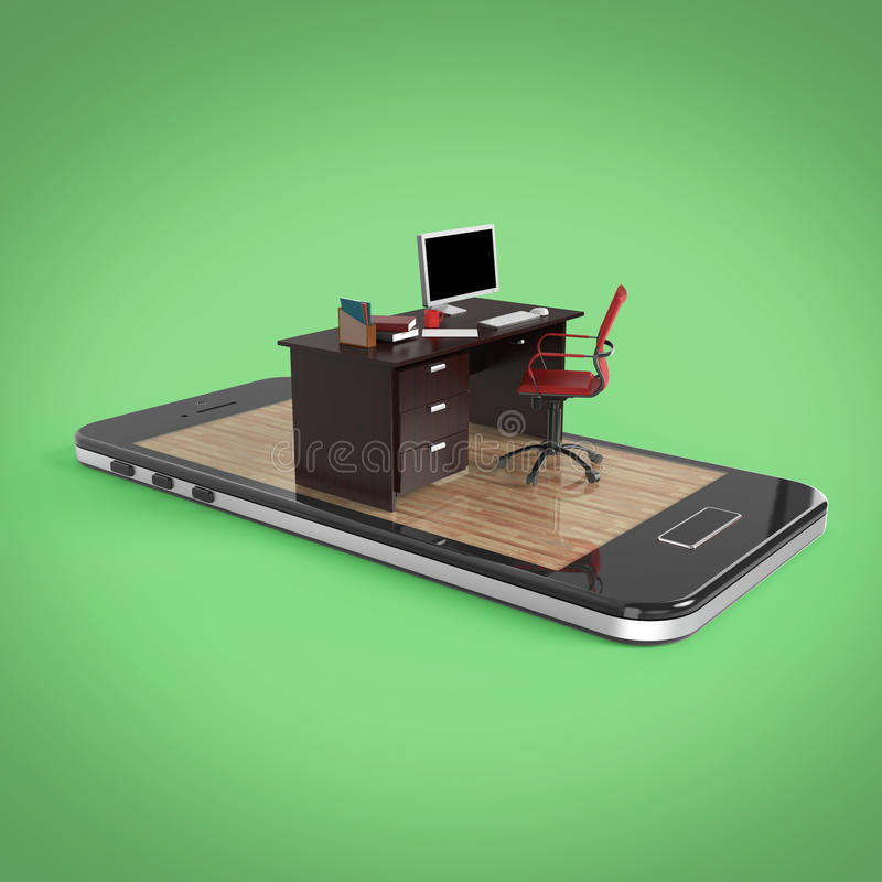Office desk with monitor keyboard armchair and mouse on smartphone screen . Concept of mobile office, online outsource wo. Rk remote jobs. 3D Rendering royalty free illustration