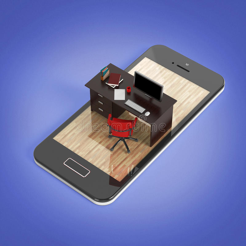 Office desk with monitor keyboard armchair and mouse on smartphone screen . Concept of mobile office, online outsource wo. Rk remote jobs. 3D Rendering stock illustration