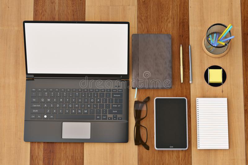 Office desk with notebook glasses keyboard coffee cup and phone. Top view on wood background.3D illustration royalty free illustration