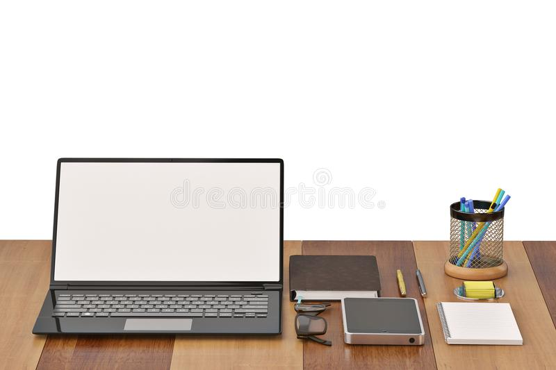Office desk with notebook glasses keyboard coffee cup and phone. On wood background.3D illustration royalty free illustration