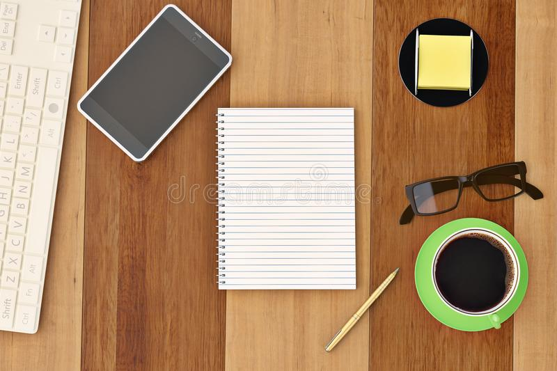 Office desk with notebook glasses keyboard coffee cup and phone. Top view on wood background.3D illustration stock illustration