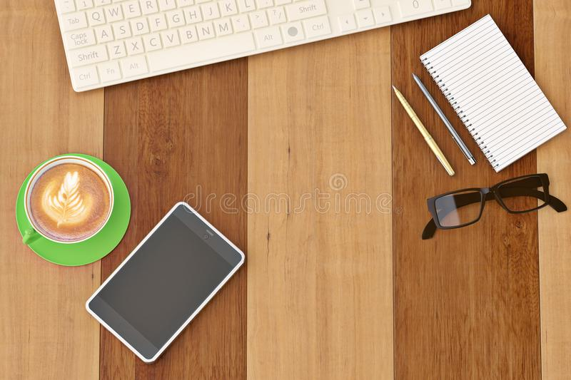 Office desk with notebook glasses keyboard coffee cup and phone. Top view on wood background.3D illustration vector illustration