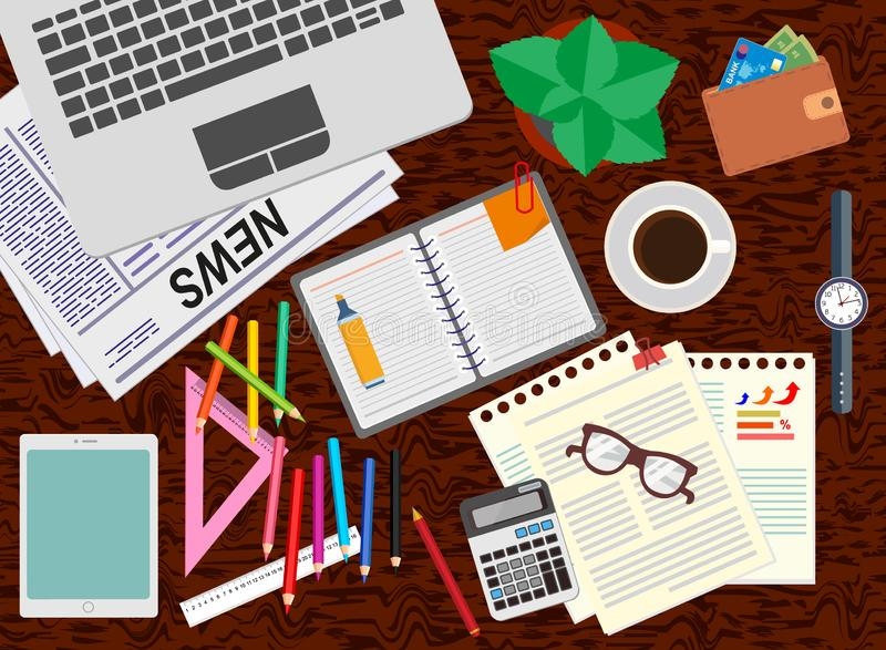 Office. Desk. Realistic workplace organization. The view from the top. stock illustration