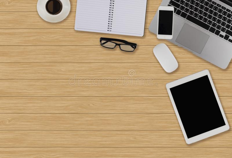 Office desk table with computer, supplies, coffee cOffice desk t stock photos