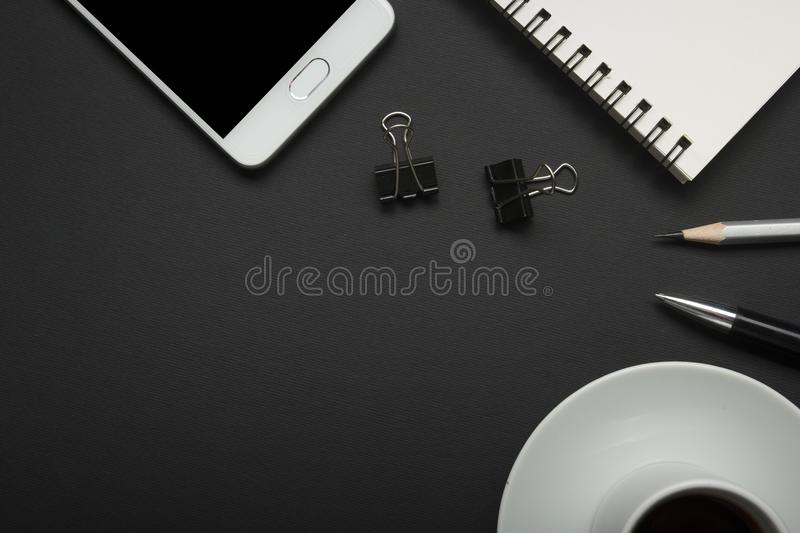 Office desk table with supplies. Flat lay Business workplace and objects. Top view. Copy space for text royalty free stock photography
