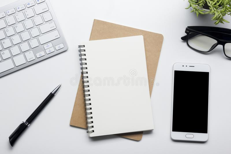 Office desk table with supplies. Flat lay Business workplace and objects. Top view. Copy space for text royalty free stock image