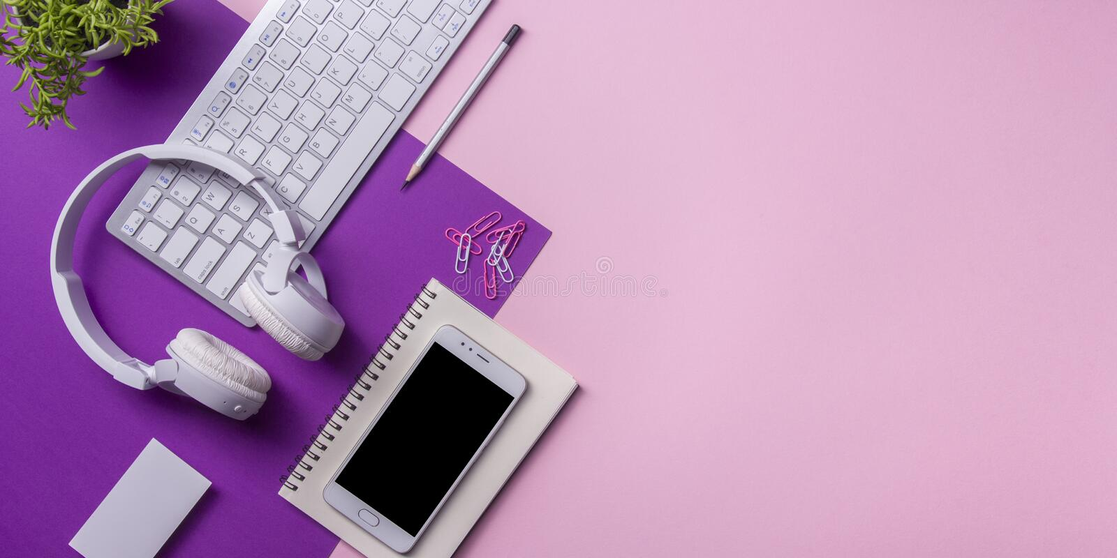 Office desk table with supplies. Flat lay Business workplace and objects. Top view. Copy space for text.  stock image