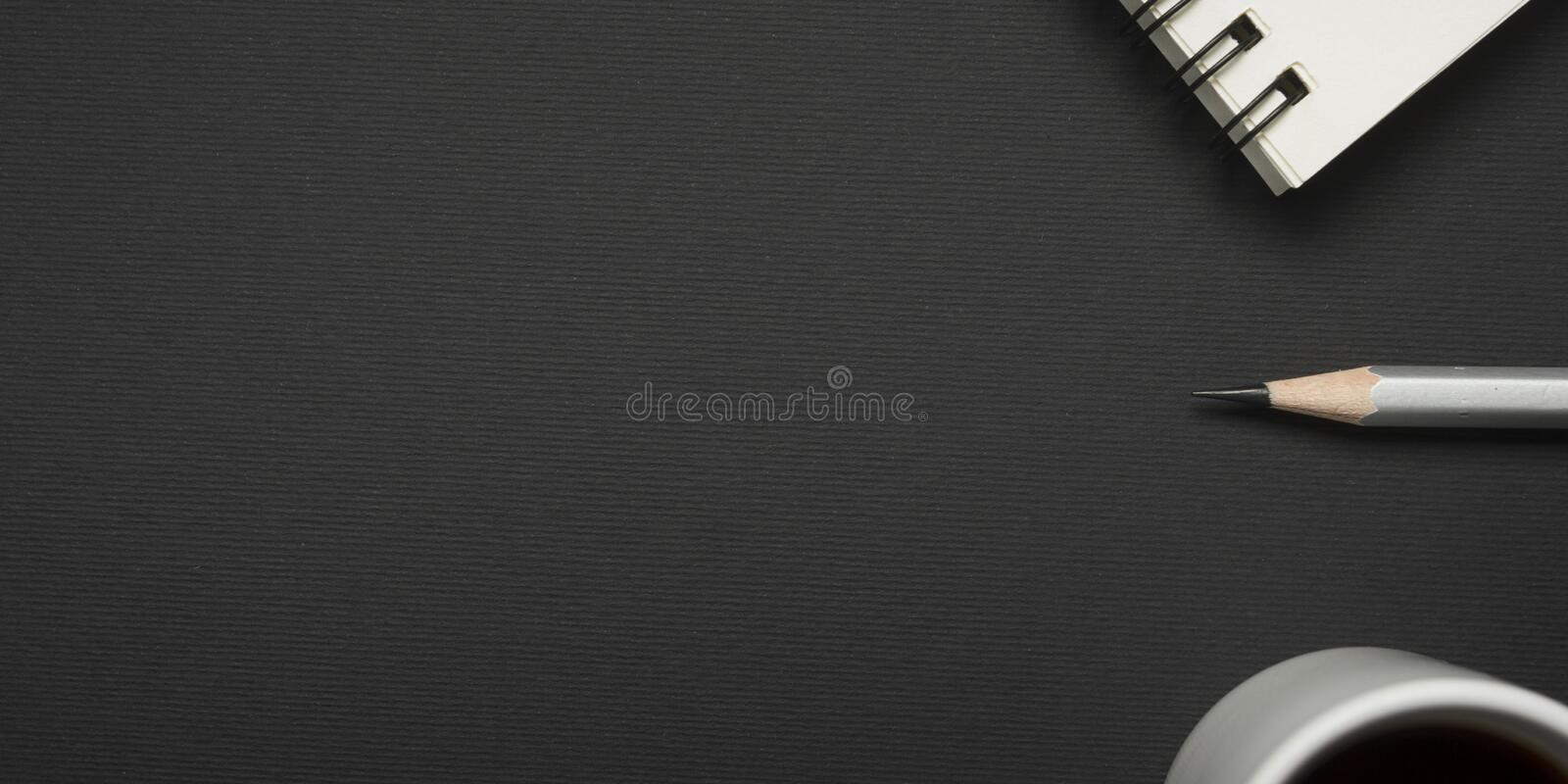 Office desk table with supplies. Flat lay Business workplace and objects. Top view. Copy space for text.  royalty free stock photography