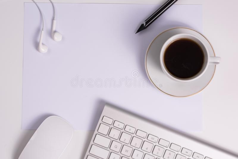 Office desk table with supplies royalty free stock photos