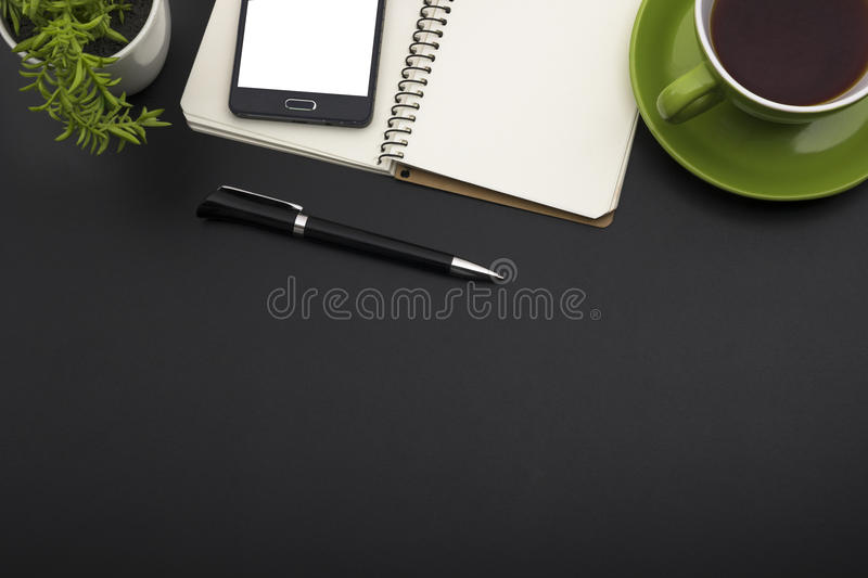 Office desk table with supplies. Top view. Copy space for text stock photo