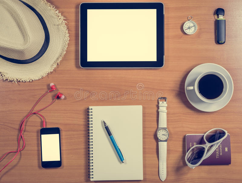 items for office desk. Download Office Desk With Tablet, Supplies, Coffee Cup And Personal Items Stock Photo - For L